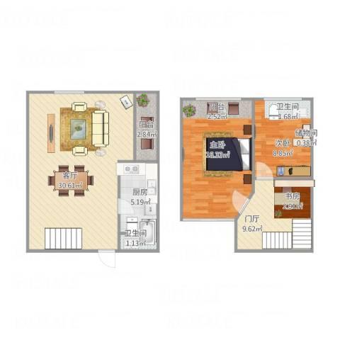 君园2室1厅1卫1厨100.00㎡户型图