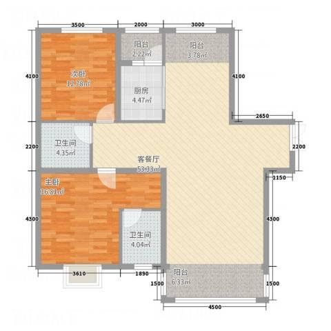 瑞鑫家园2室1厅2卫1厨136.00㎡户型图