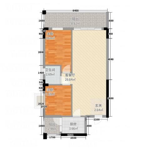 马王堆汽配城2室1厅1卫1厨91.00㎡户型图