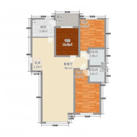雅塘新居3室1厅2卫1厨146.00㎡户型图