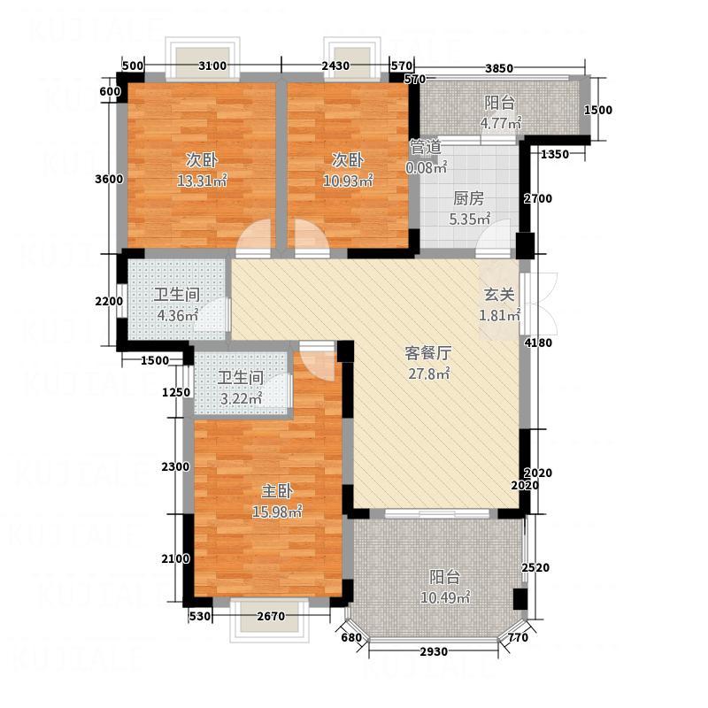 英豪永和春天117.65㎡B4户型3室1厅2卫1厨