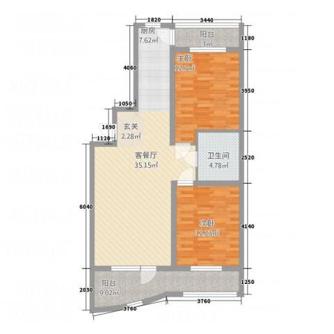 金城丽景湾三期2室1厅1卫0厨76.88㎡户型图