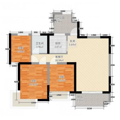 湘环住宅3室1厅1卫1厨106.00㎡户型图