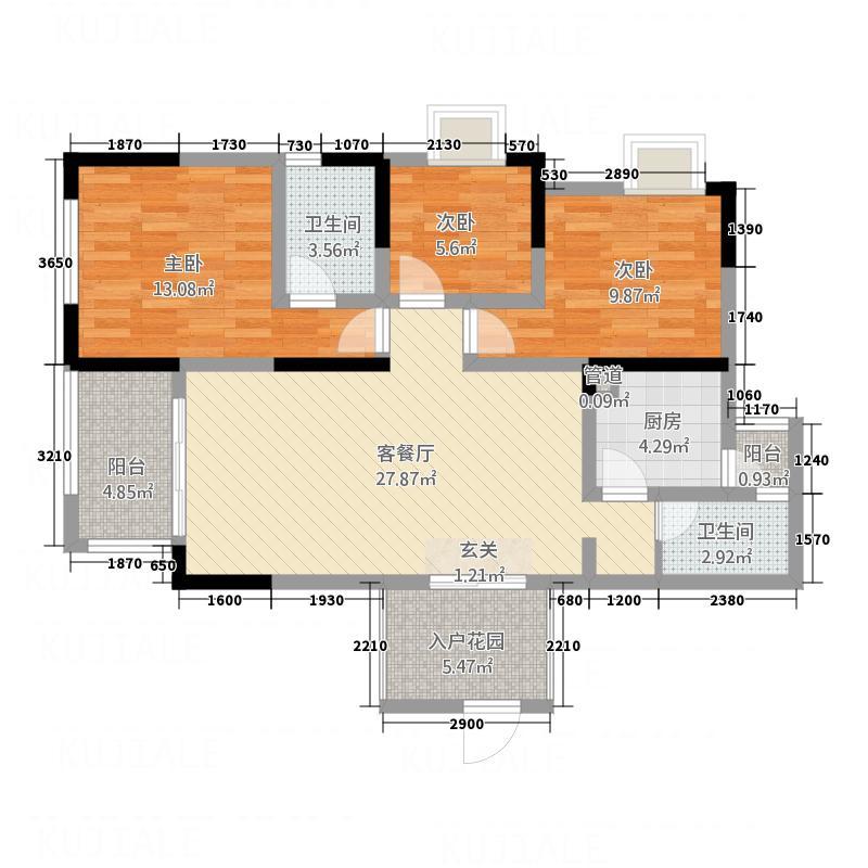 经典花苑户型3室