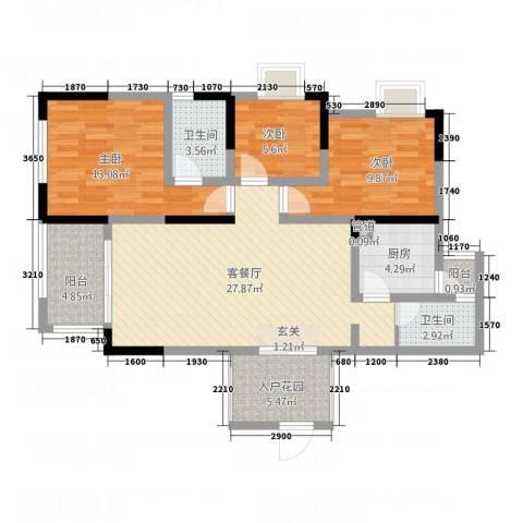 经典花苑3室1厅2卫1厨115.00㎡户型图