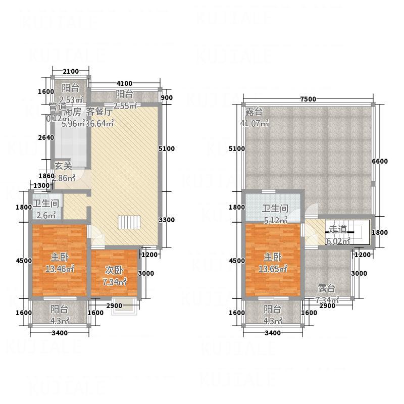众合北尚125.10㎡K跃户型3室2厅2卫1厨