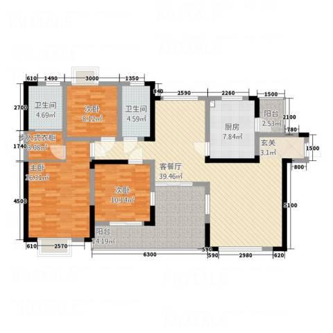 长城花园3室1厅2卫1厨160.00㎡户型图