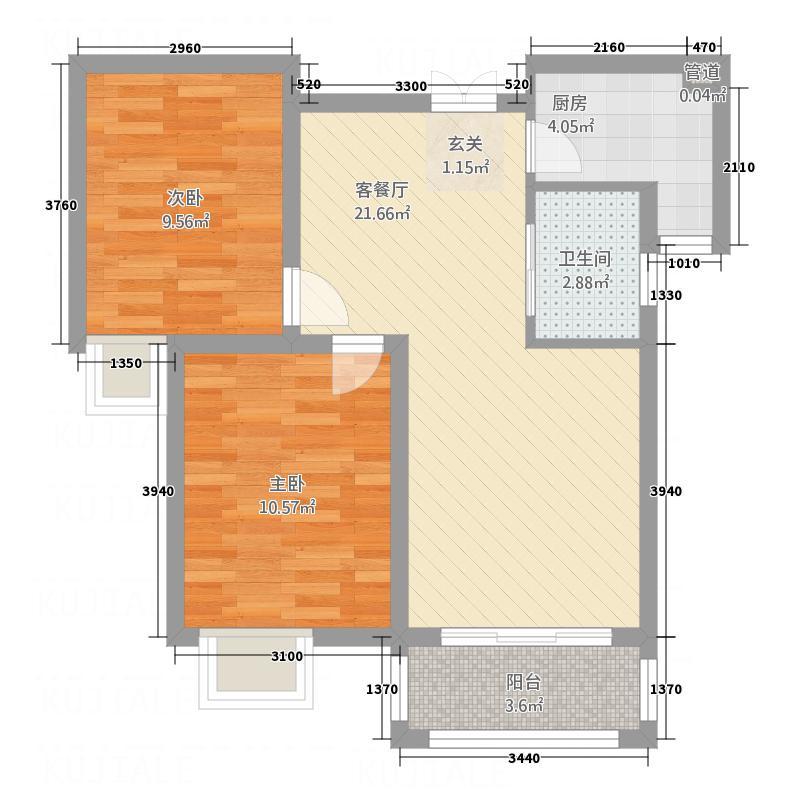 万鼎广场5.80㎡4户型2室2厅1卫1厨