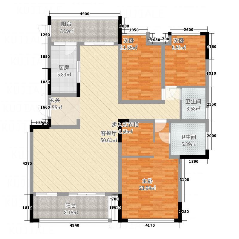 宏义・江湾城127.35㎡二期B标准层户型3室2厅2卫1厨