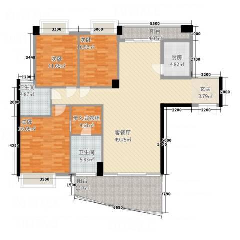 红建金城3室1厅2卫1厨175.00㎡户型图