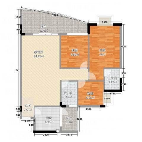 会展领域3室1厅2卫1厨135.00㎡户型图