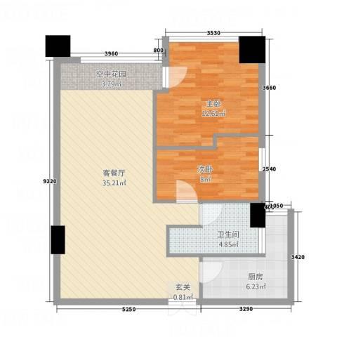 金烨融府2室1厅1卫1厨66.90㎡户型图