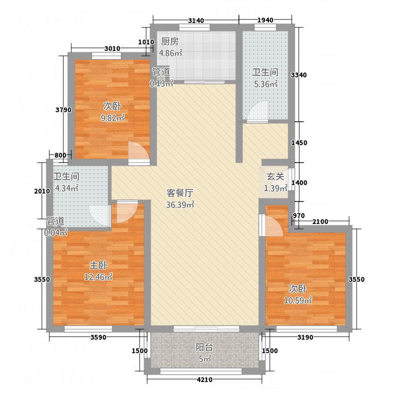 裔龙・凤凰城133.65㎡B1户型3室2厅2卫1厨