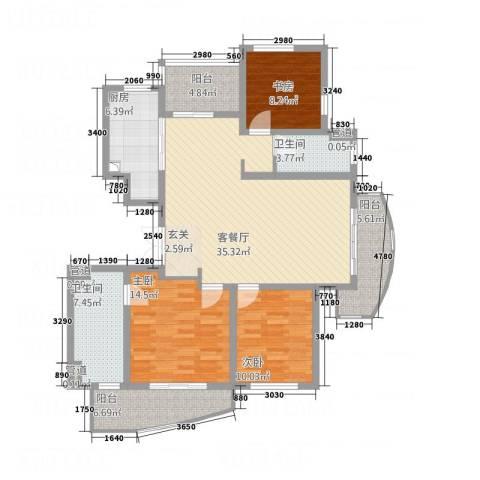 格林花园3室1厅2卫1厨148.00㎡户型图