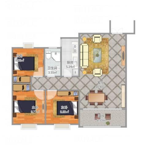 侨建花园3室1厅1卫1厨82.00㎡户型图