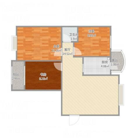 龙溪香岸3室1厅1卫1厨90.00㎡户型图