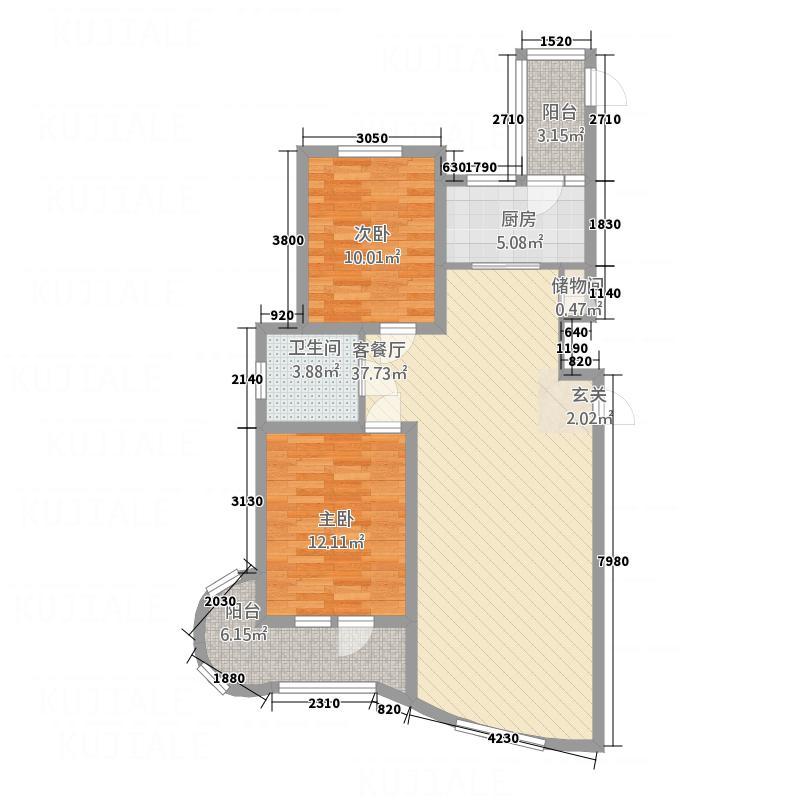 金城丽景湾三期1.80㎡A22层户型4室3厅2卫