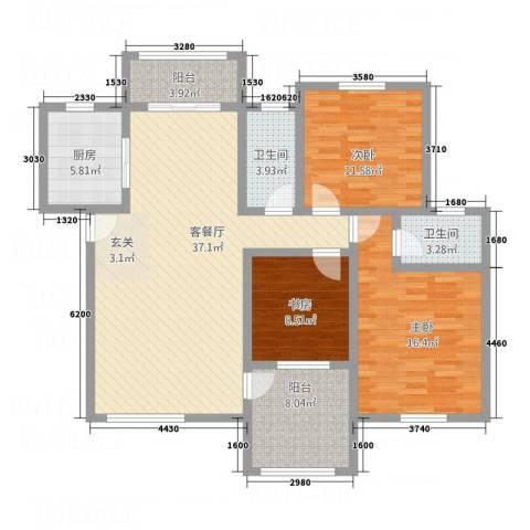 圣地亚哥3室1厅2卫1厨118.00㎡户型图