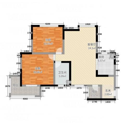 鼓楼上城2室1厅1卫1厨121.00㎡户型图