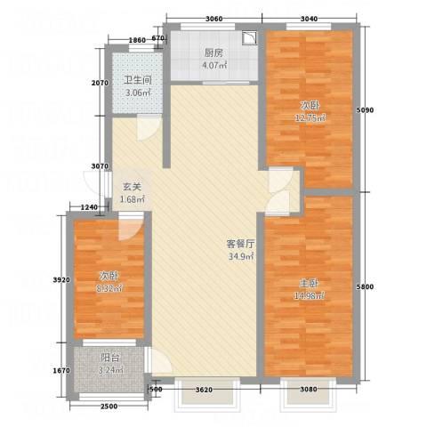高科惠泽园3室1厅1卫1厨116.00㎡户型图