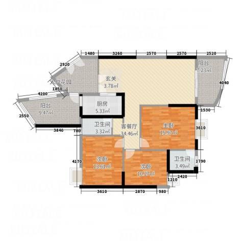 银地绿洲3室1厅2卫1厨110.81㎡户型图