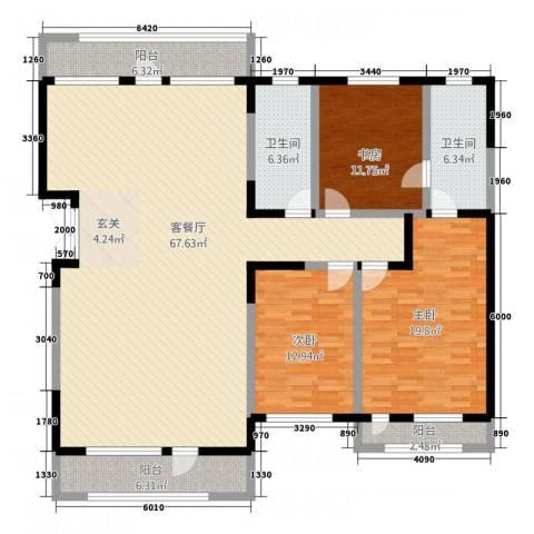 碧湾花园3室1厅2卫0厨139.93㎡户型图