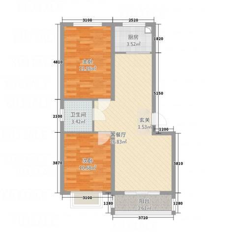 高科惠泽园2室1厅1卫1厨88.00㎡户型图