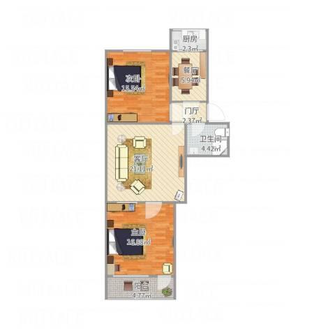 刘堂小区2室2厅1卫1厨99.00㎡户型图