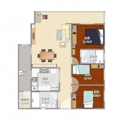 华侨海景城二期3室1厅2卫1厨125.00㎡户型图