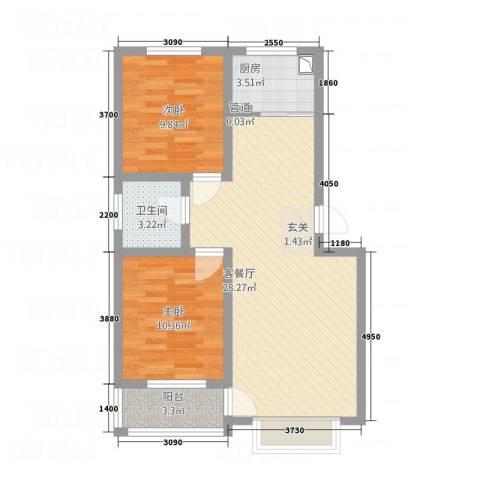 高科惠泽园2室1厅1卫1厨85.00㎡户型图