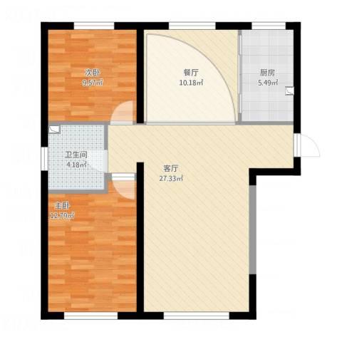 中冶蓝城2室2厅1卫1厨98.00㎡户型图