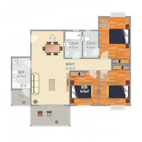 凤凰山居3室1厅2卫1厨123.00㎡户型图