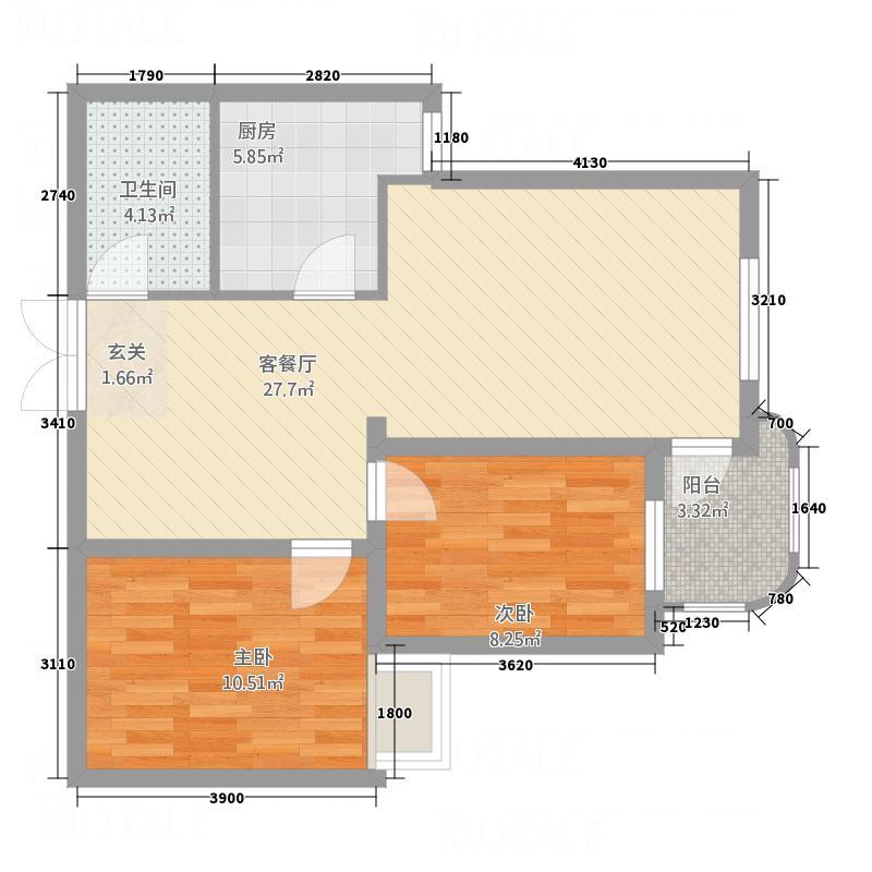 阳光翠海18户型2室2厅1卫1厨