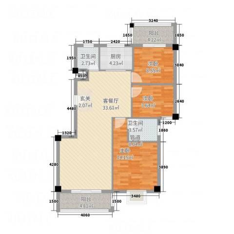 华清中心城三期3室1厅2卫1厨118.00㎡户型图
