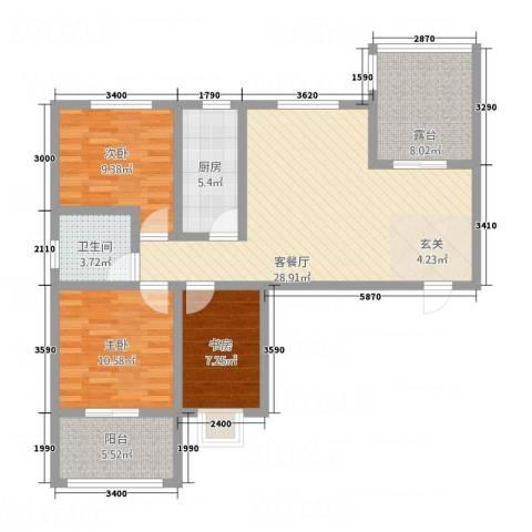 星城旺城3室1厅1卫1厨115.00㎡户型图