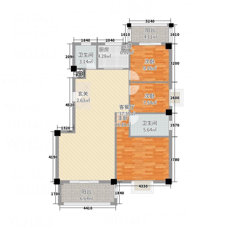 华清中心城三期10#楼银湖里127号2-17层01户型