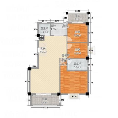华清中心城三期3室1厅2卫1厨133.00㎡户型图