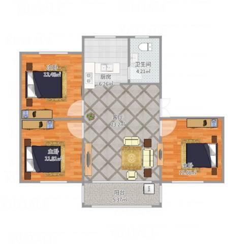 屿后北里3室1厅1卫1厨87.00㎡户型图