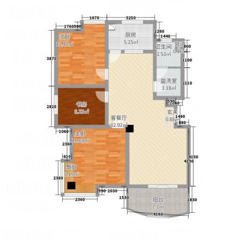 都市花园3室2厅1卫1厨127.00㎡户型图