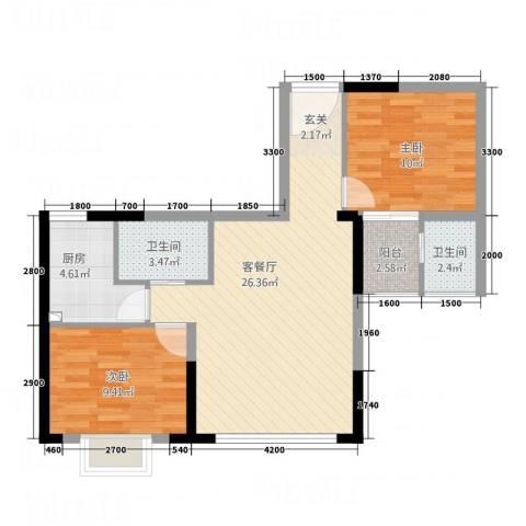长沙深国投商业中心2室1厅2卫1厨84.00㎡户型图