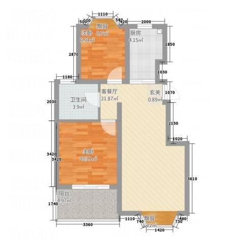新桥村沁园小区2室1厅1卫1厨75.00㎡户型图