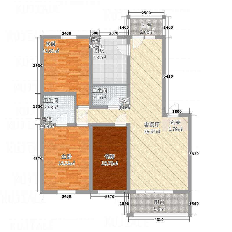 地利苑136.00㎡A户型3室2厅2卫
