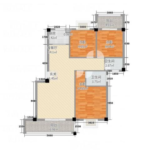 华清中心城三期3室1厅2卫1厨124.00㎡户型图