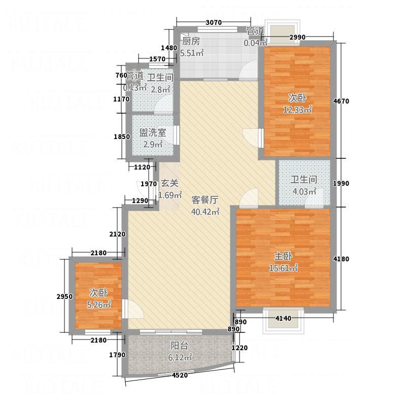 都市花园136.00㎡户型3室2厅2卫1厨