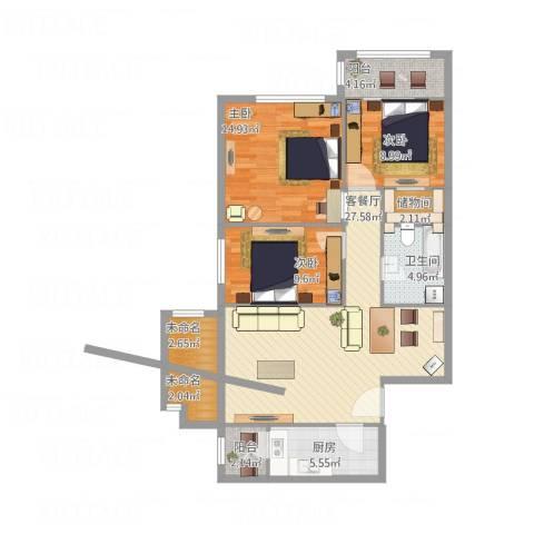 星河城三期3室1厅1卫1厨120.00㎡户型图