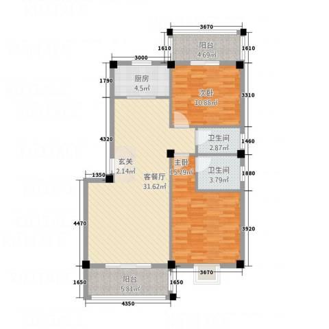 华清中心城三期2室1厅2卫1厨112.00㎡户型图
