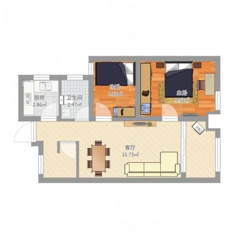 新城悠活城2室1厅1卫1厨62.00㎡户型图