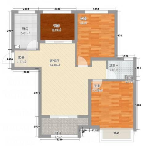 乐活城市3室1厅1卫1厨65.43㎡户型图