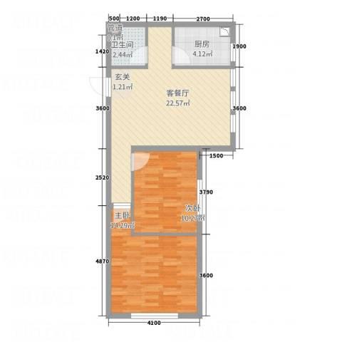 育才壹品2室1厅1卫1厨83.00㎡户型图