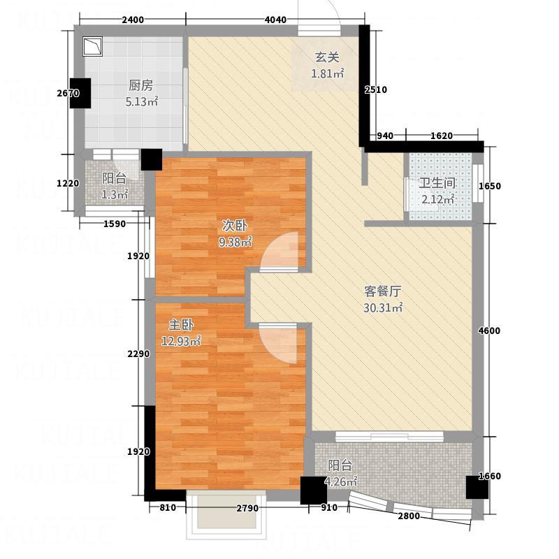 俊荣尚品2282.22㎡B户型2室2厅1卫1厨